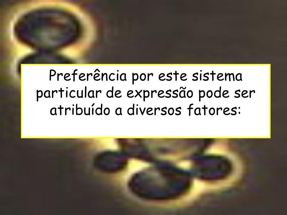 Preferência por este sistema particular de expressão pode ser atribuído a diversos fatores: