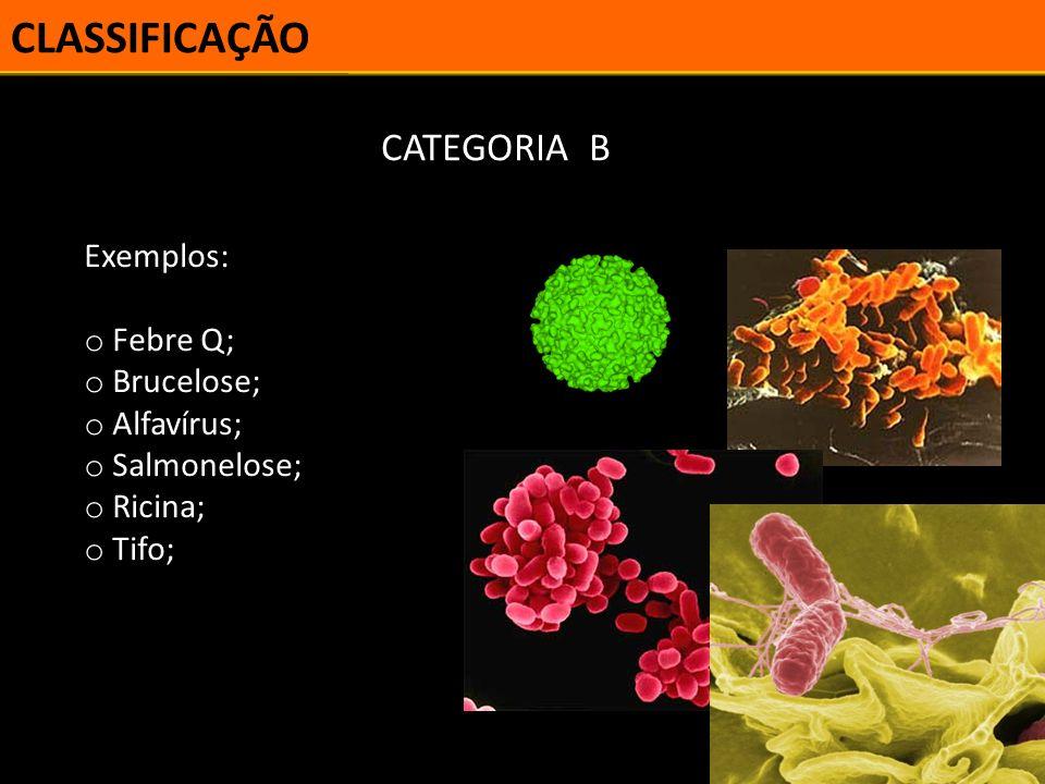 CLASSIFICAÇÃO CATEGORIA B Exemplos: Febre Q; Brucelose; Alfavírus;
