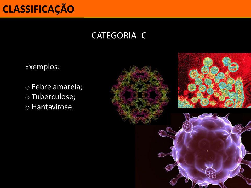 CLASSIFICAÇÃO CATEGORIA C Exemplos: Febre amarela; Tuberculose;