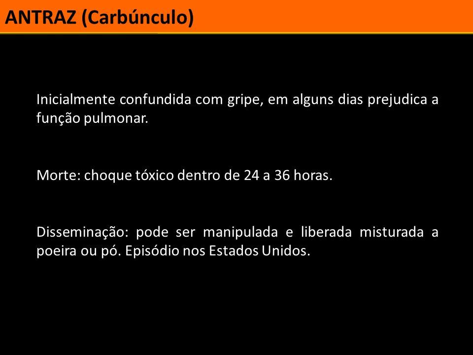 ANTRAZ (Carbúnculo) Inicialmente confundida com gripe, em alguns dias prejudica a função pulmonar. Morte: choque tóxico dentro de 24 a 36 horas.