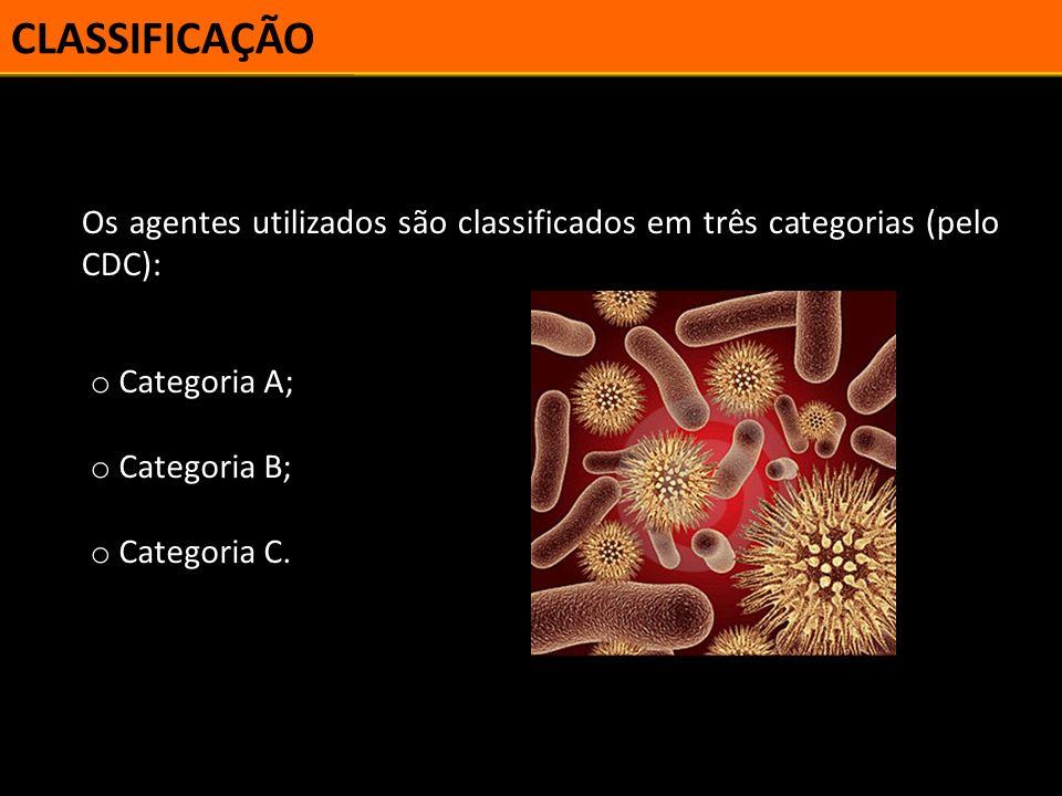 CLASSIFICAÇÃO Os agentes utilizados são classificados em três categorias (pelo CDC): Categoria A; Categoria B;
