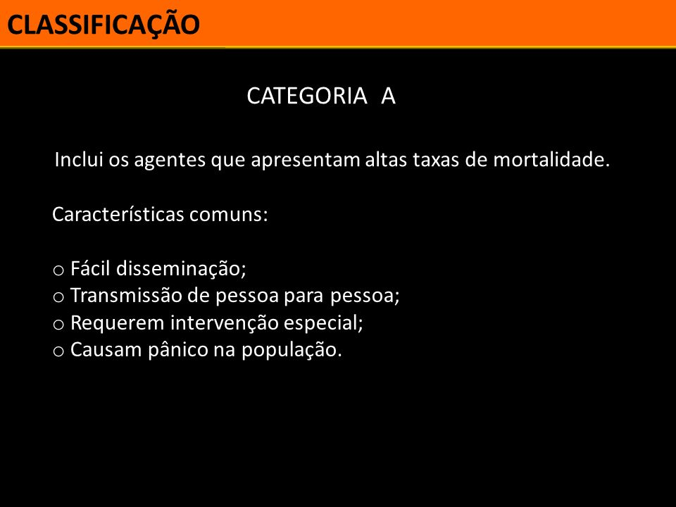 CLASSIFICAÇÃO CATEGORIA A