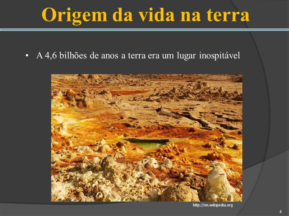 Origem da vida na terra A 4,6 bilhões de anos a terra era um lugar inospitável.