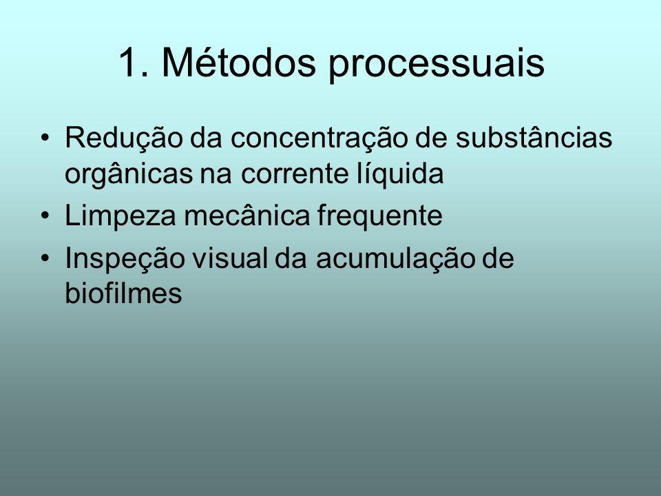 1. Métodos processuais Redução da concentração de substâncias orgânicas na corrente líquida. Limpeza mecânica frequente.