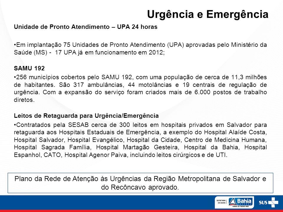 Urgência e Emergência Unidade de Pronto Atendimento – UPA 24 horas.