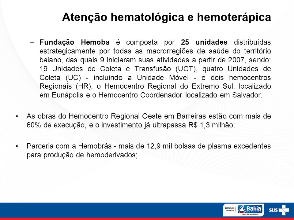 Atenção hematológica e hemoterápica