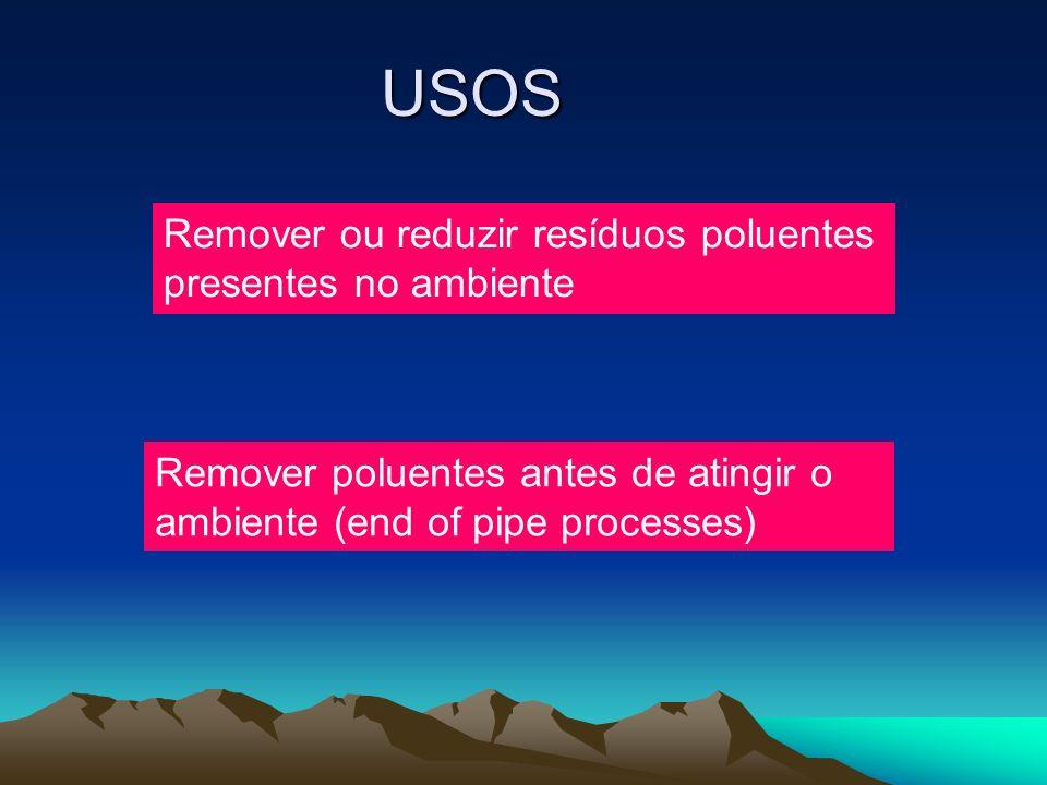 USOS Remover ou reduzir resíduos poluentes presentes no ambiente