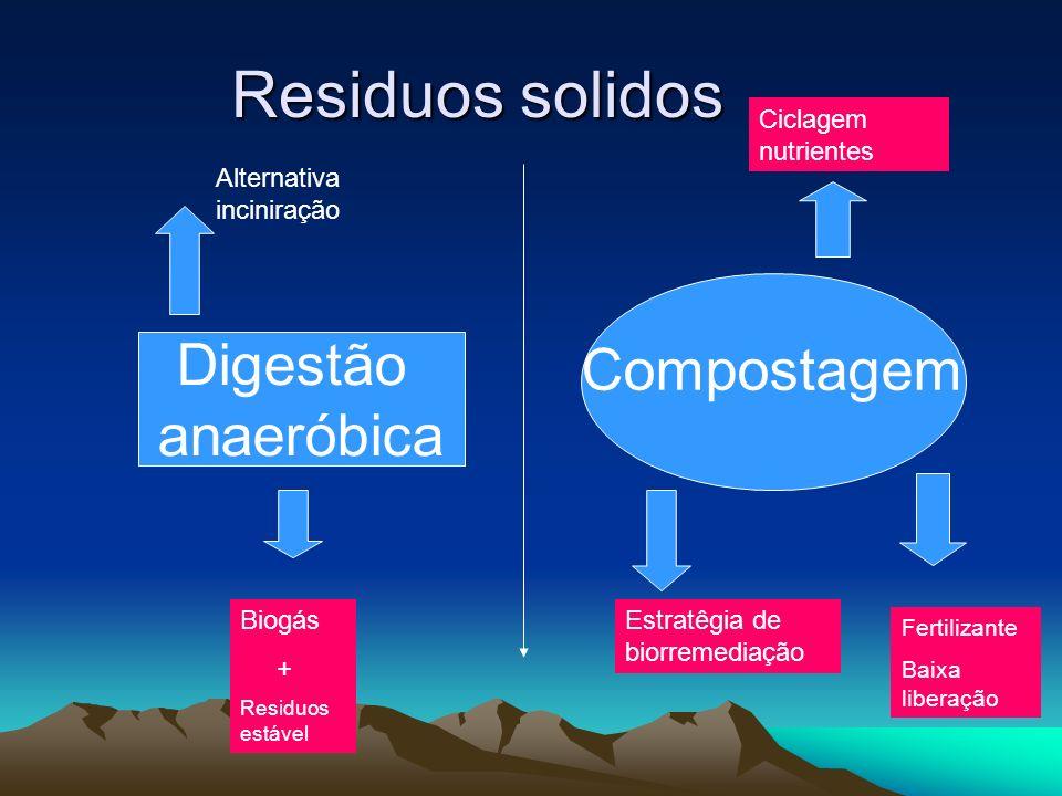 Residuos solidos Digestão anaeróbica Compostagem Ciclagem nutrientes