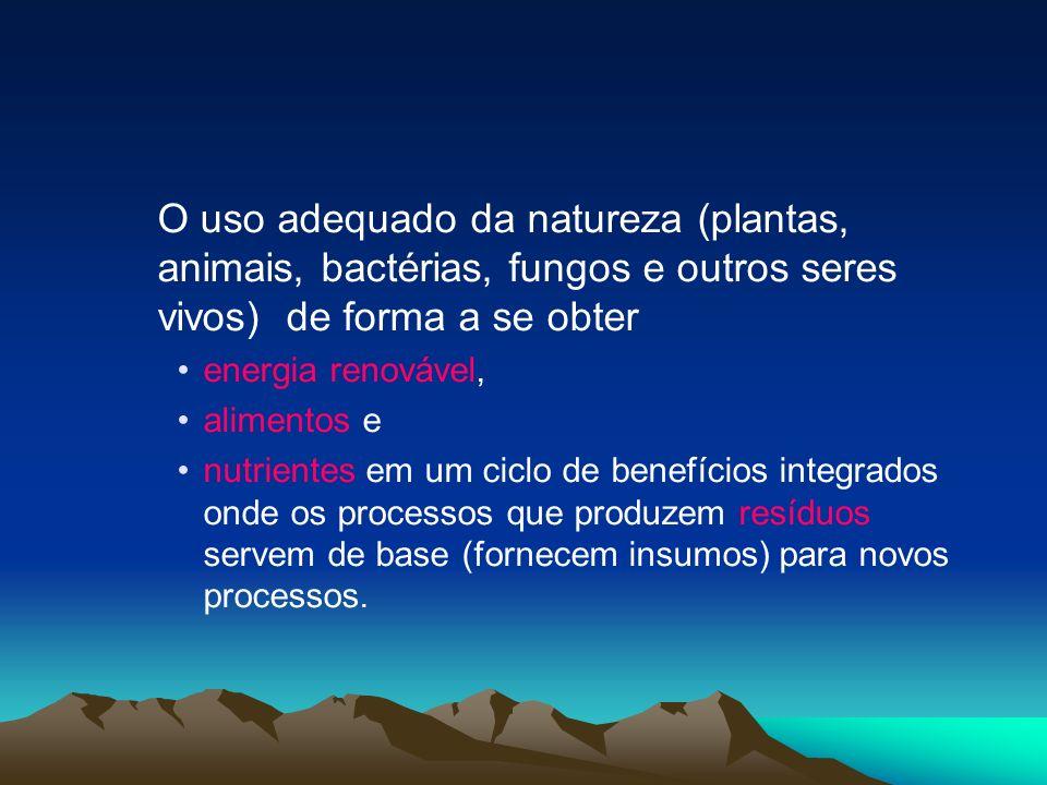 O uso adequado da natureza (plantas, animais, bactérias, fungos e outros seres vivos) de forma a se obter