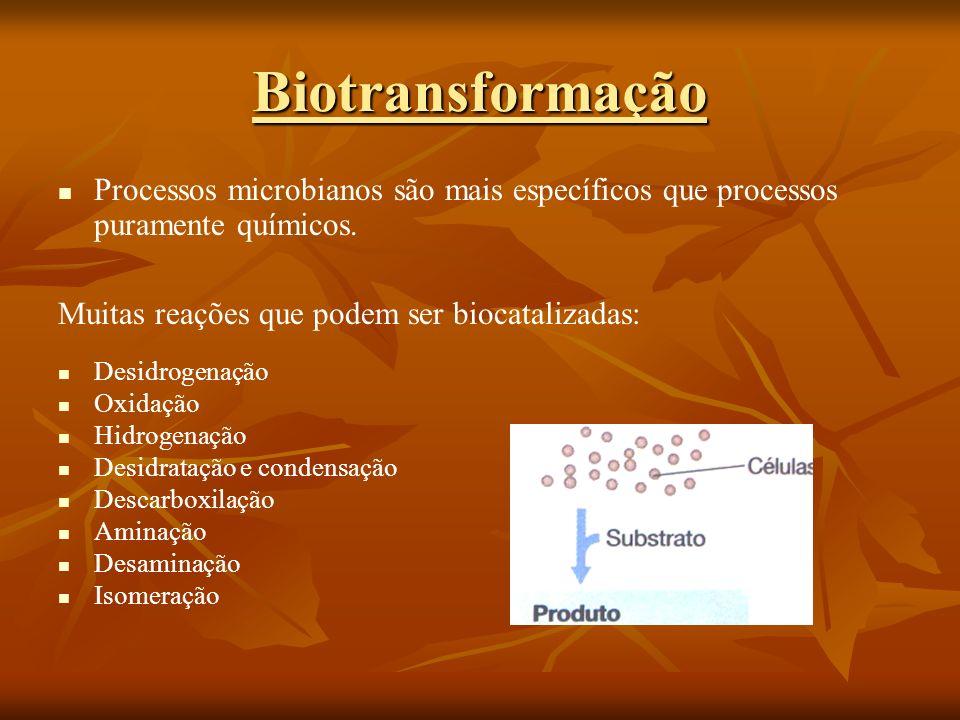 Biotransformação Processos microbianos são mais específicos que processos puramente químicos. Muitas reações que podem ser biocatalizadas: