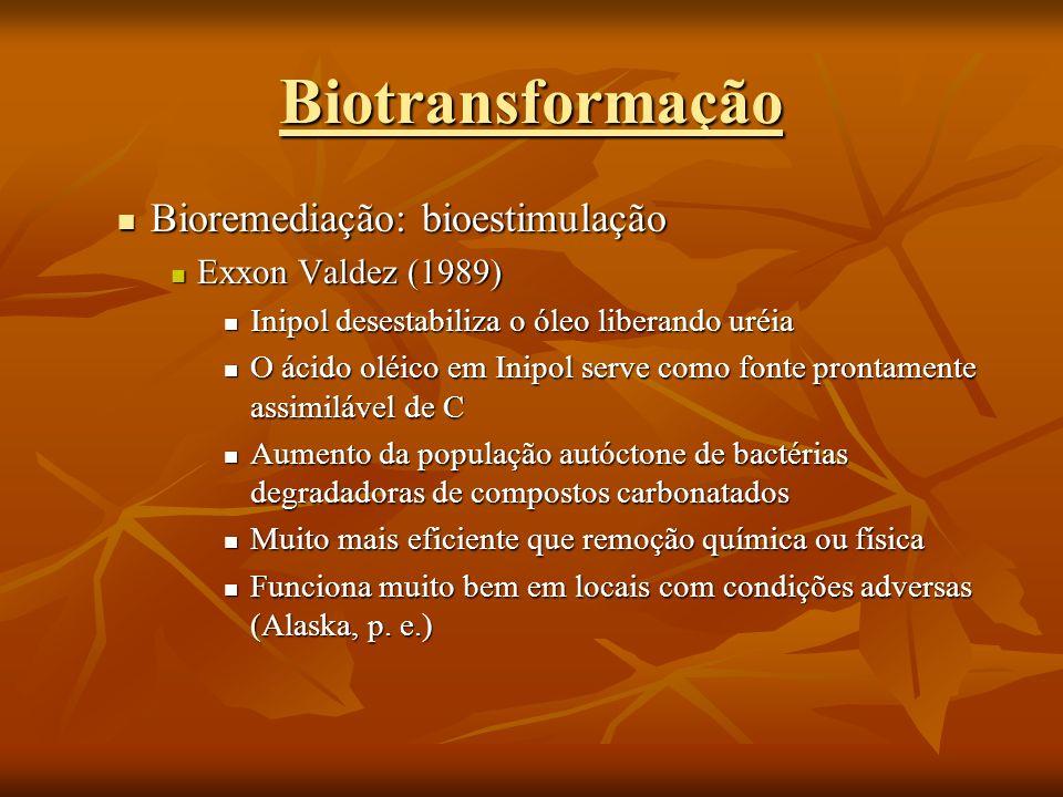 Biotransformação Bioremediação: bioestimulação Exxon Valdez (1989)