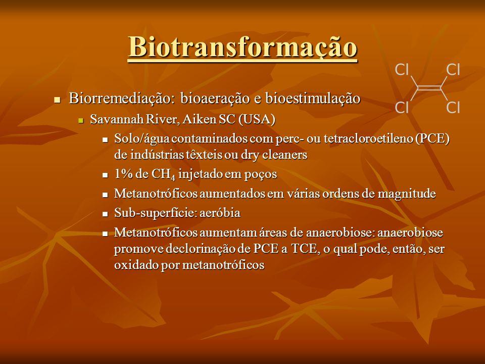 Biotransformação Biorremediação: bioaeração e bioestimulação