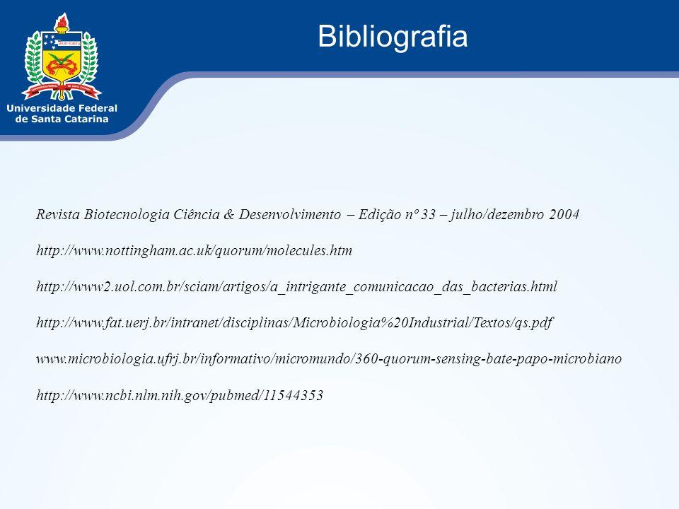 Bibliografia Revista Biotecnologia Ciência & Desenvolvimento – Edição nº 33 – julho/dezembro 2004. http://www.nottingham.ac.uk/quorum/molecules.htm.