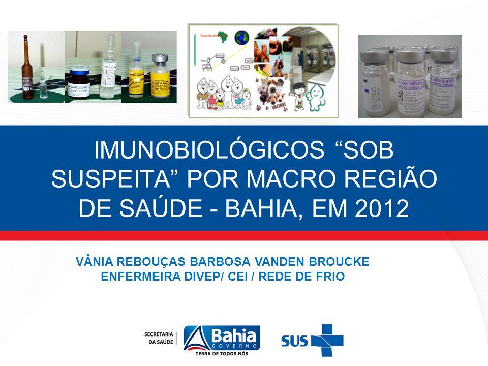 IMUNOBIOLÓGICOS SOB SUSPEITA POR MACRO REGIÃO DE SAÚDE - BAHIA, EM 2012