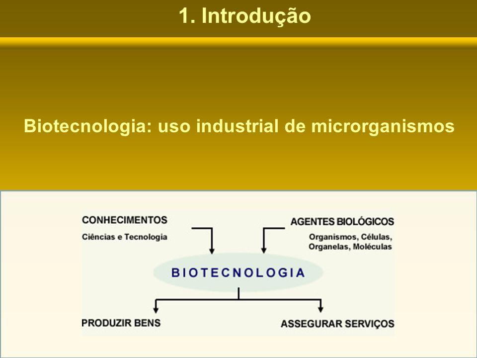 1. Introdução Biotecnologia: uso industrial de microrganismos