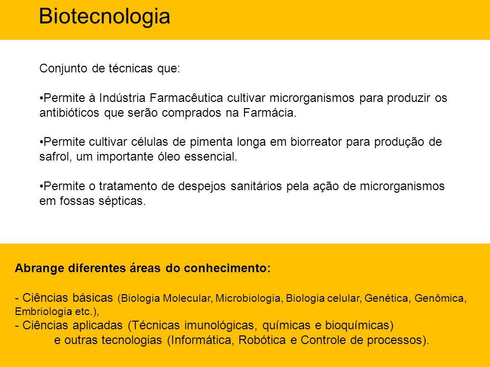 Biotecnologia Conjunto de técnicas que: