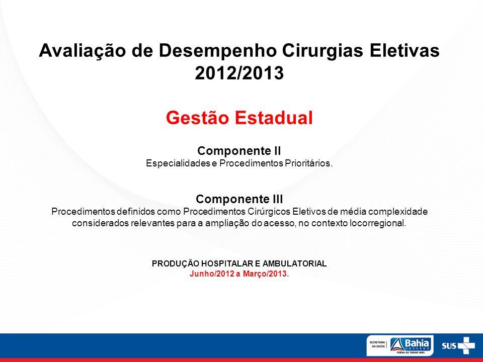 Avaliação de Desempenho Cirurgias Eletivas 2012/2013 Gestão Estadual
