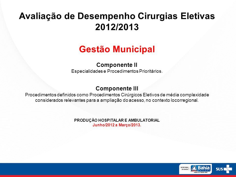 Avaliação de Desempenho Cirurgias Eletivas 2012/2013 Gestão Municipal