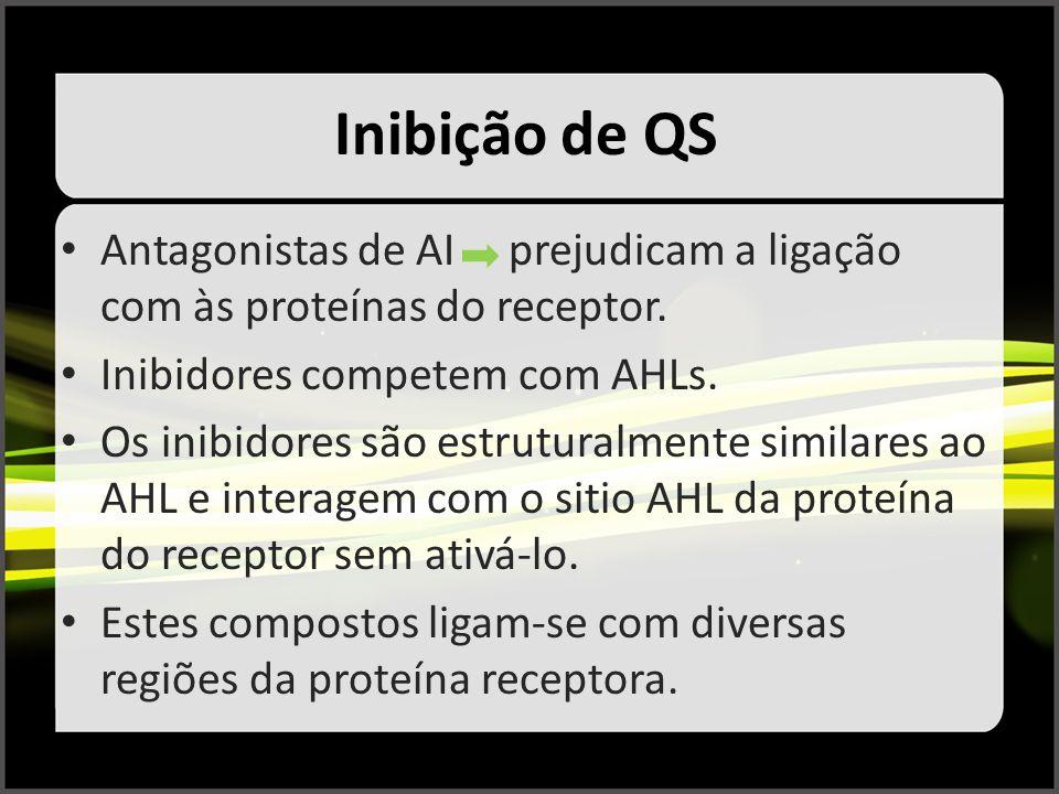 Inibição de QS Antagonistas de AI prejudicam a ligação com às proteínas do receptor. Inibidores competem com AHLs.