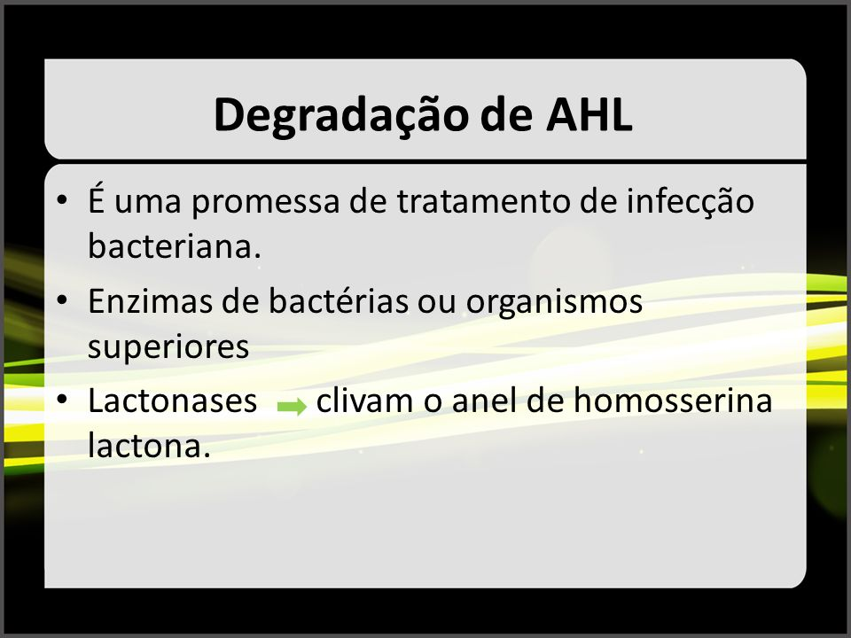 Degradação de AHL É uma promessa de tratamento de infecção bacteriana.