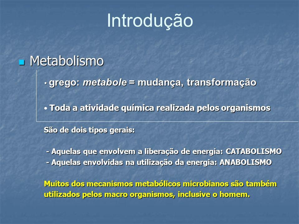 Introdução Metabolismo grego: metabole = mudança, transformação