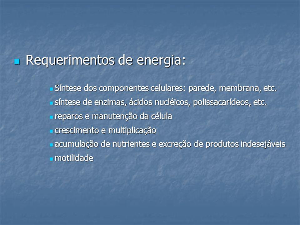 Requerimentos de energia: