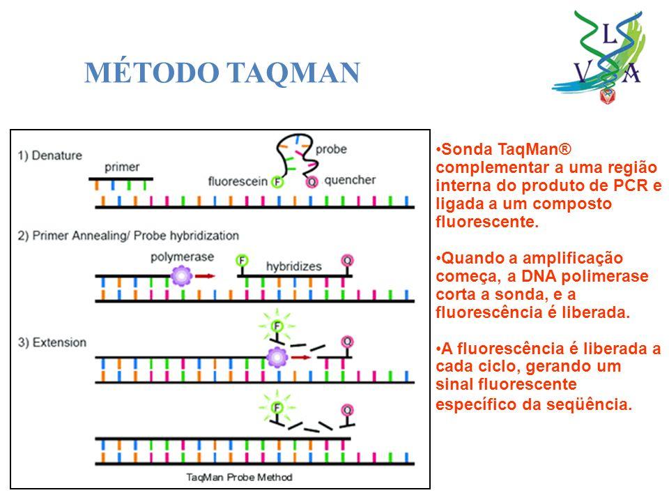 MÉTODO TAQMAN Sonda TaqMan® complementar a uma região interna do produto de PCR e ligada a um composto fluorescente.