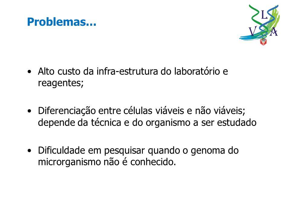 Problemas... Alto custo da infra-estrutura do laboratório e reagentes;