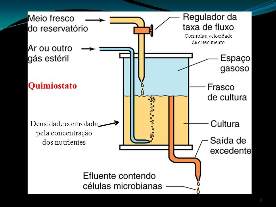 Quimiostato Densidade controlada pela concentração dos nutrientes
