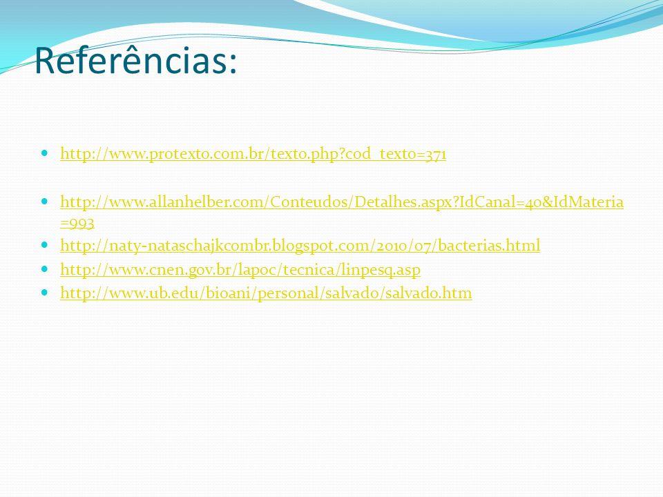 Referências: http://www.protexto.com.br/texto.php cod_texto=371