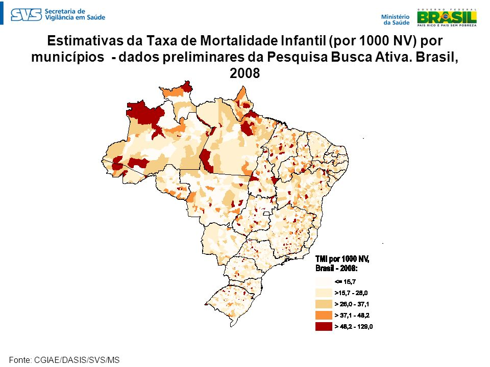 Estimativas da Taxa de Mortalidade Infantil (por 1000 NV) por municípios - dados preliminares da Pesquisa Busca Ativa. Brasil, 2008
