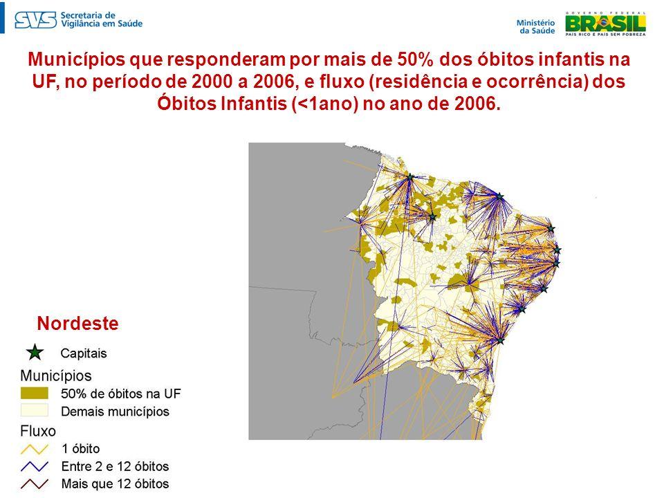 Municípios que responderam por mais de 50% dos óbitos infantis na UF, no período de 2000 a 2006, e fluxo (residência e ocorrência) dos Óbitos Infantis (<1ano) no ano de 2006.