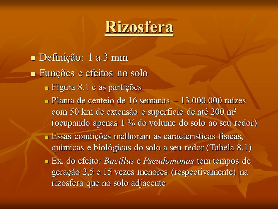 Rizosfera Definição: 1 a 3 mm Funções e efeitos no solo