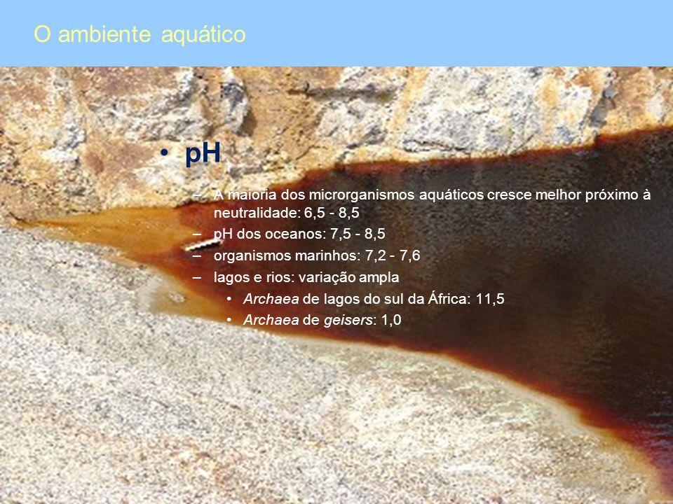 O ambiente aquático pH. A maioria dos microrganismos aquáticos cresce melhor próximo à neutralidade: 6,5 - 8,5.