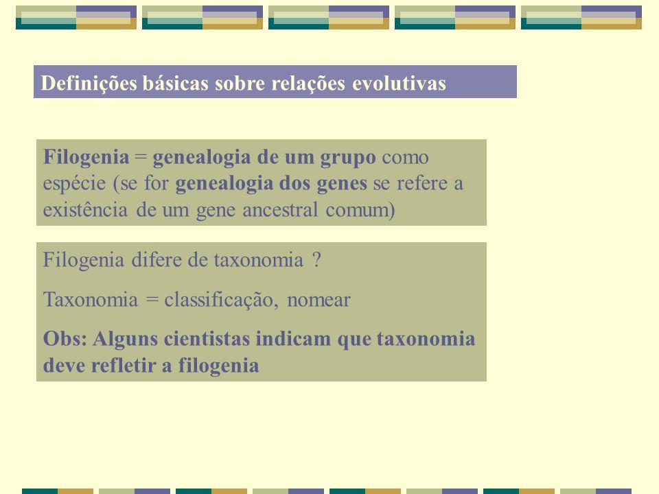 Definições básicas sobre relações evolutivas