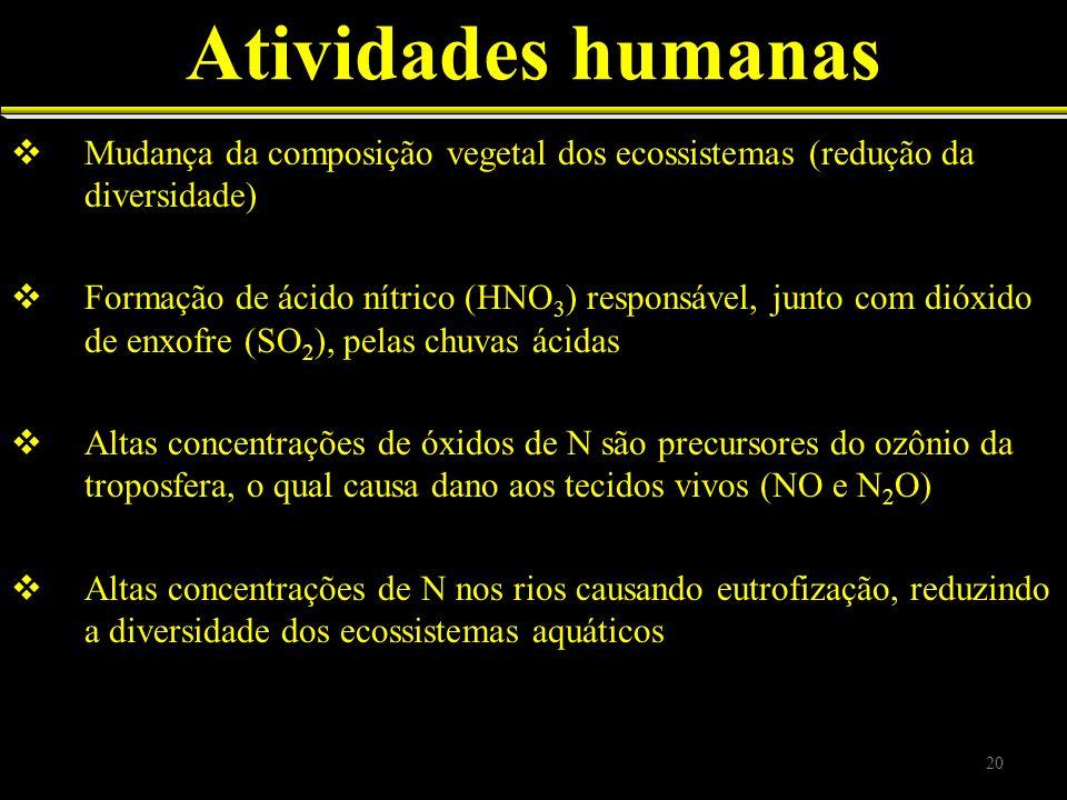 Atividades humanas Mudança da composição vegetal dos ecossistemas (redução da diversidade)