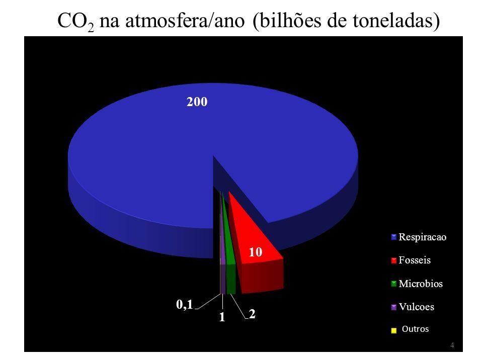 CO2 na atmosfera/ano (bilhões de toneladas)