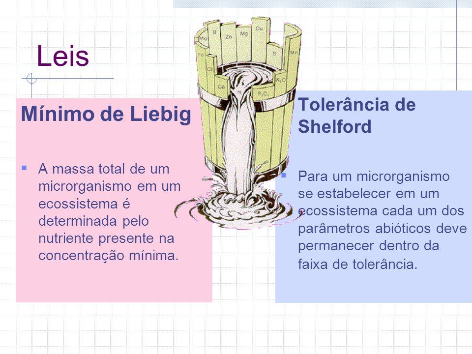 Leis Mínimo de Liebig Tolerância de Shelford