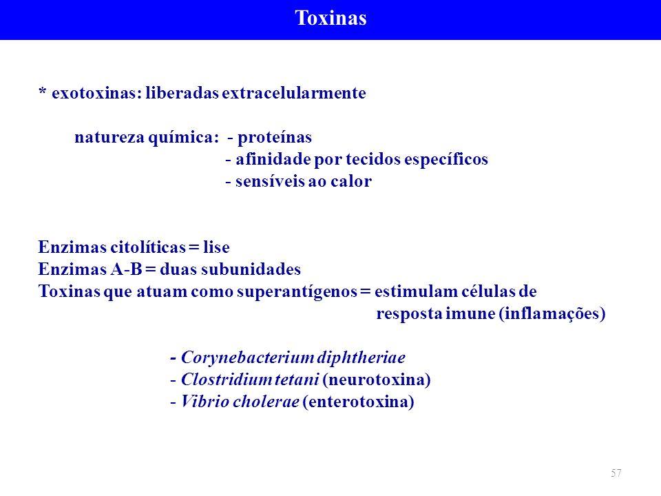 Toxinas * exotoxinas: liberadas extracelularmente