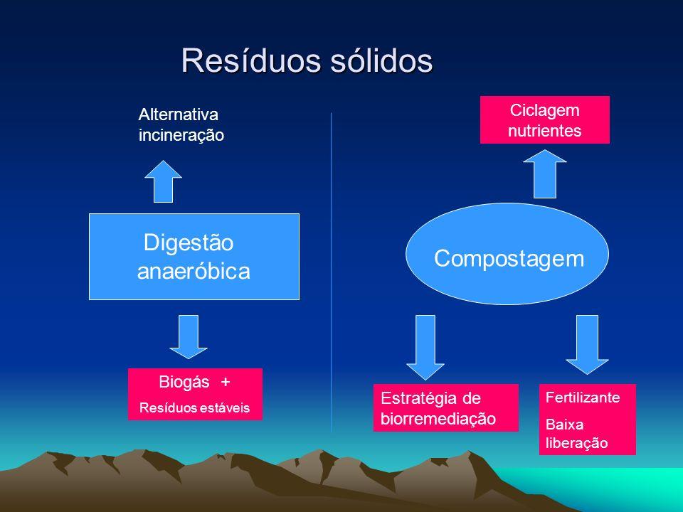 Resíduos sólidos Digestão anaeróbica Compostagem Ciclagem nutrientes