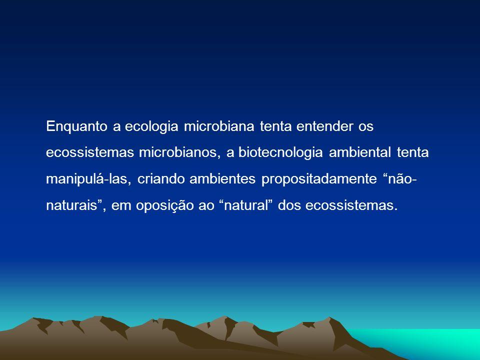 Enquanto a ecologia microbiana tenta entender os ecossistemas microbianos, a biotecnologia ambiental tenta manipulá-las, criando ambientes propositadamente não-naturais , em oposição ao natural dos ecossistemas.