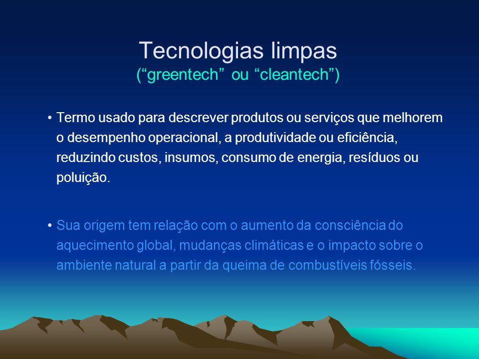 Tecnologias limpas ( greentech ou cleantech )