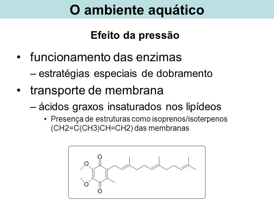 O ambiente aquático funcionamento das enzimas transporte de membrana