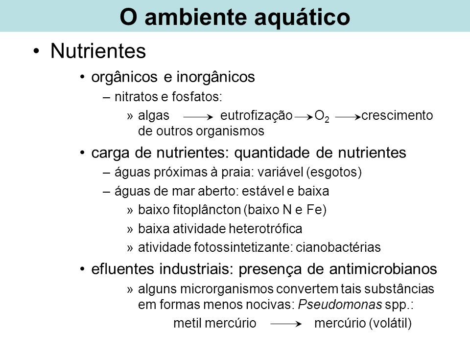 O ambiente aquático Nutrientes orgânicos e inorgânicos