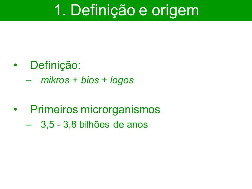1. Definição e origem Definição: Primeiros microrganismos