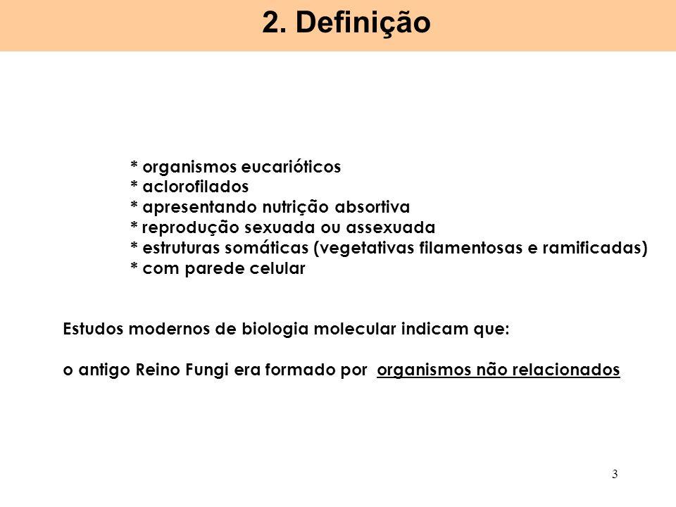 2. Definição * organismos eucarióticos * aclorofilados