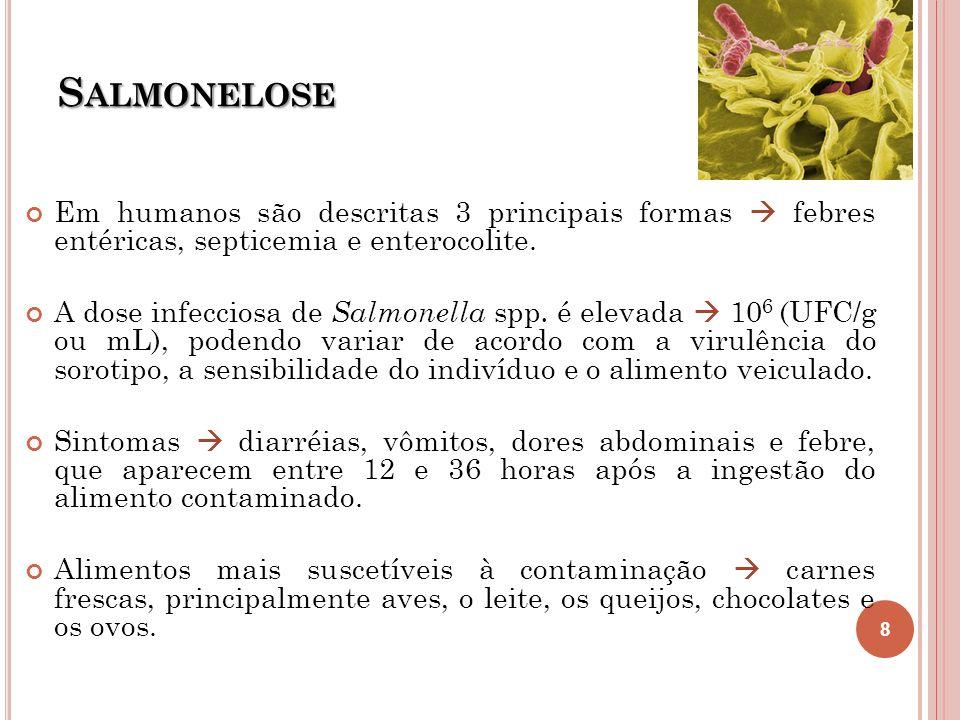 Salmonelose Em humanos são descritas 3 principais formas  febres entéricas, septicemia e enterocolite.