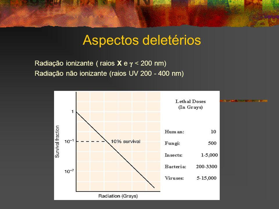 Aspectos deletérios Radiação ionizante ( raios X e γ < 200 nm)