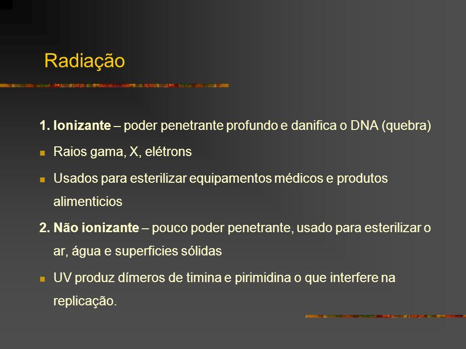 Radiação 1. Ionizante – poder penetrante profundo e danifica o DNA (quebra) Raios gama, X, elétrons.