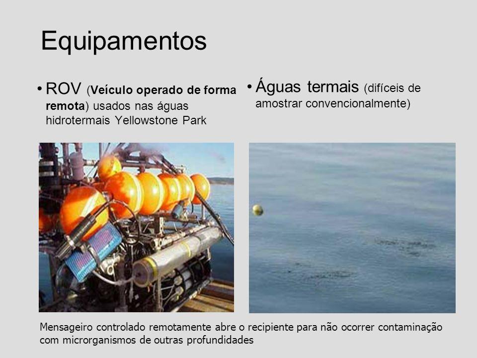 Equipamentos ROV (Veículo operado de forma remota) usados nas águas hidrotermais Yellowstone Park.